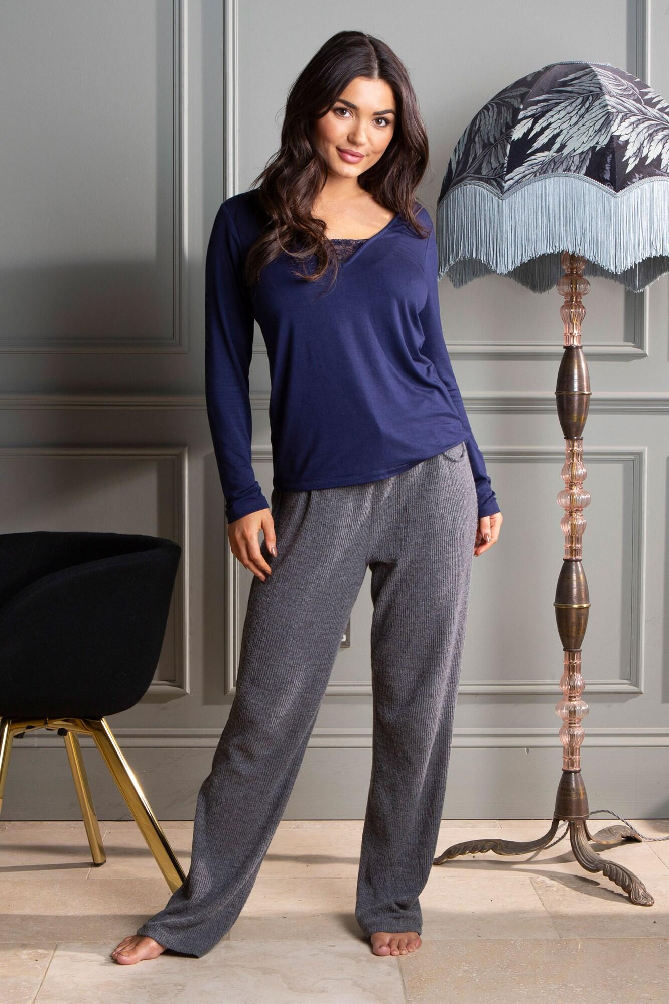 Lazy Days Cosy Rib Trouser - Charcoal