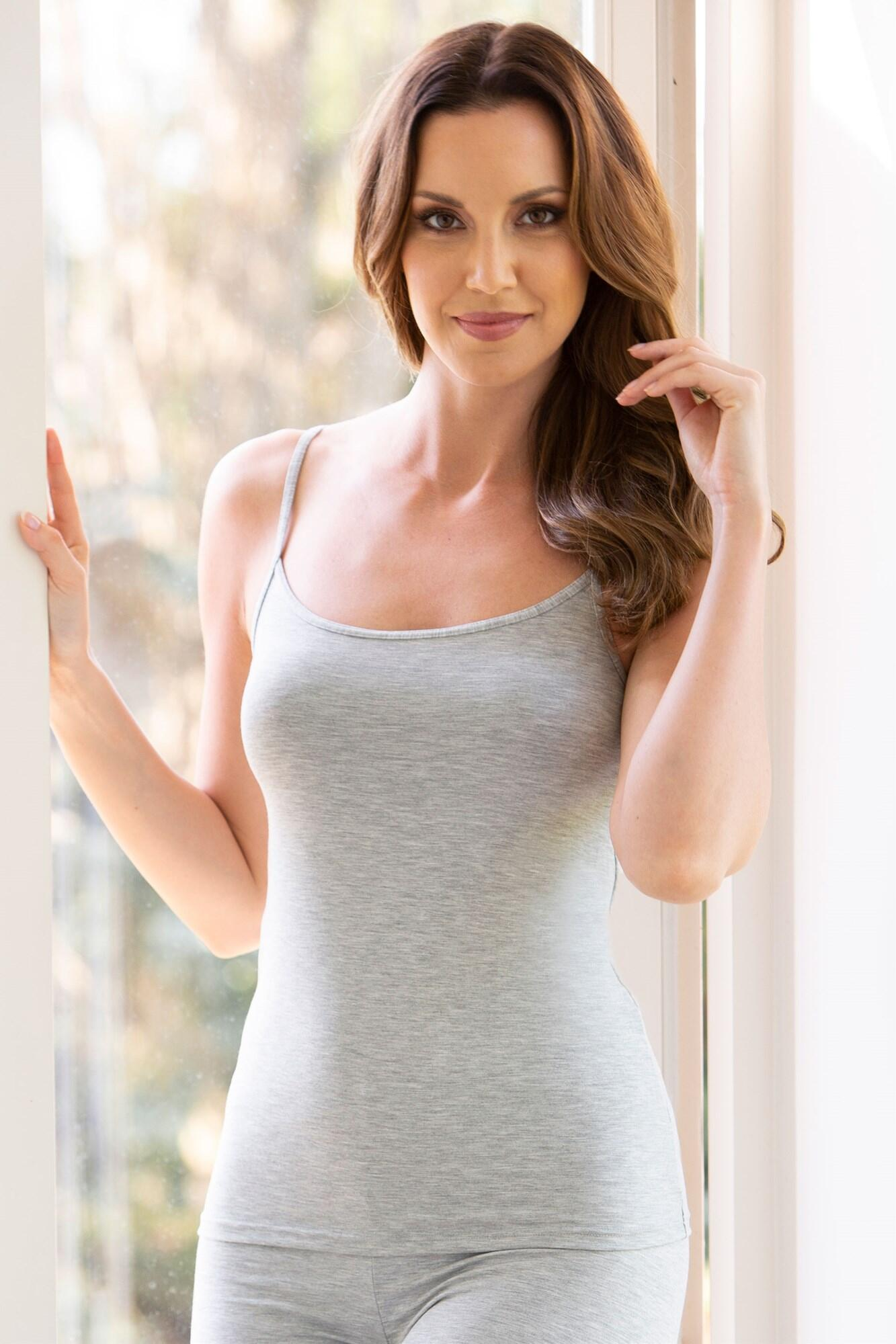 Second Skin Thermal Strappy Camisole Top - Grey Marl