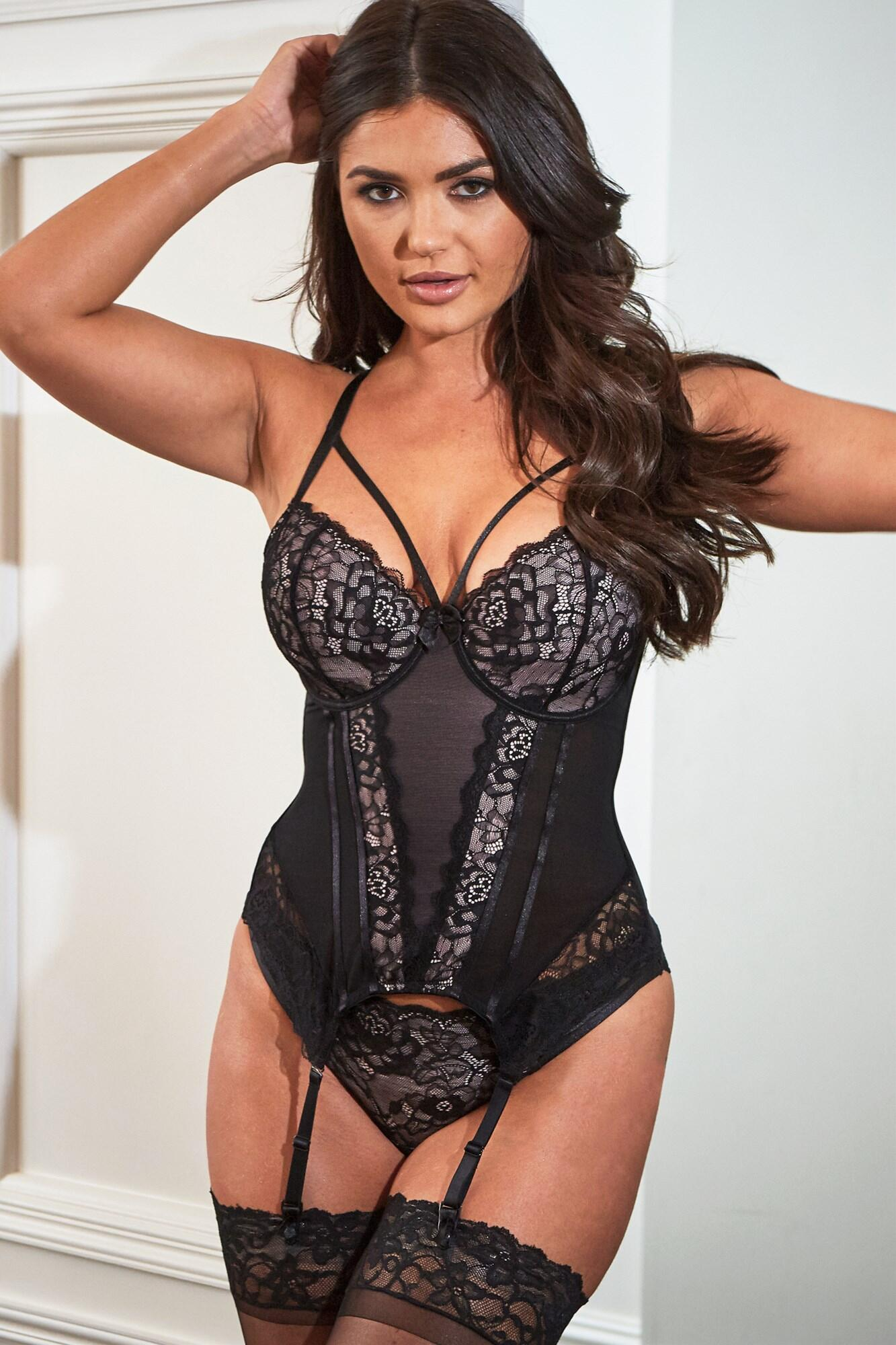 Confession Lightly Padded Underwired Basque - Black/Pink