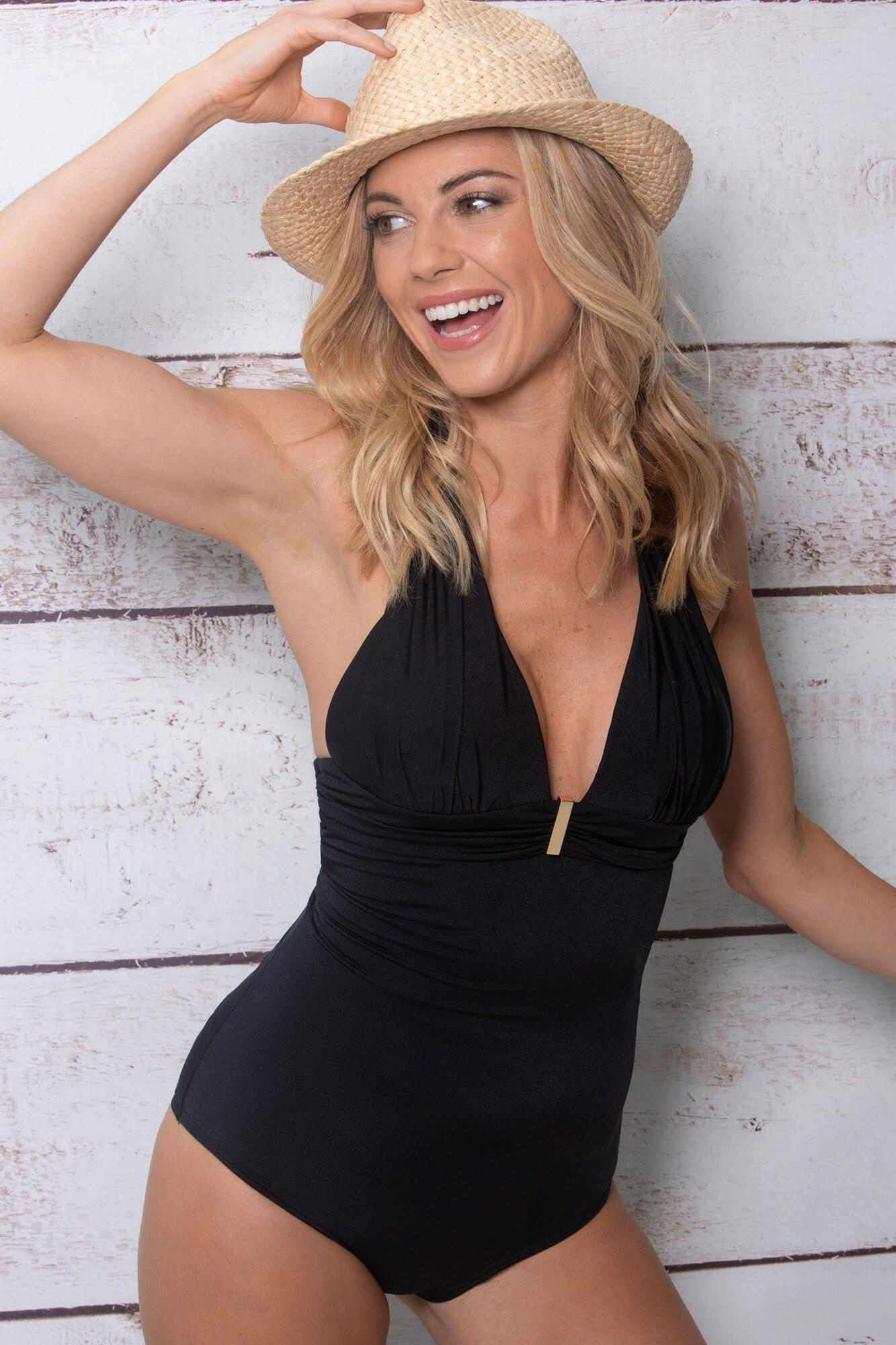 Cote D'Azur Padded Non Wired Halter Control Swimsuit - Black