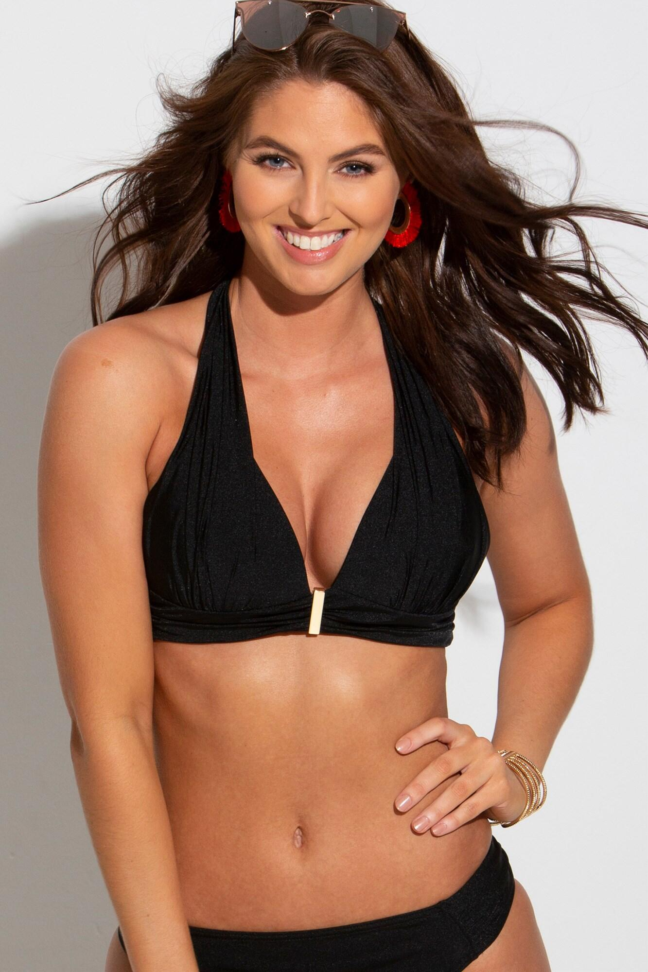 Cote D'Azur Padded Non Wired Halter Top - Black