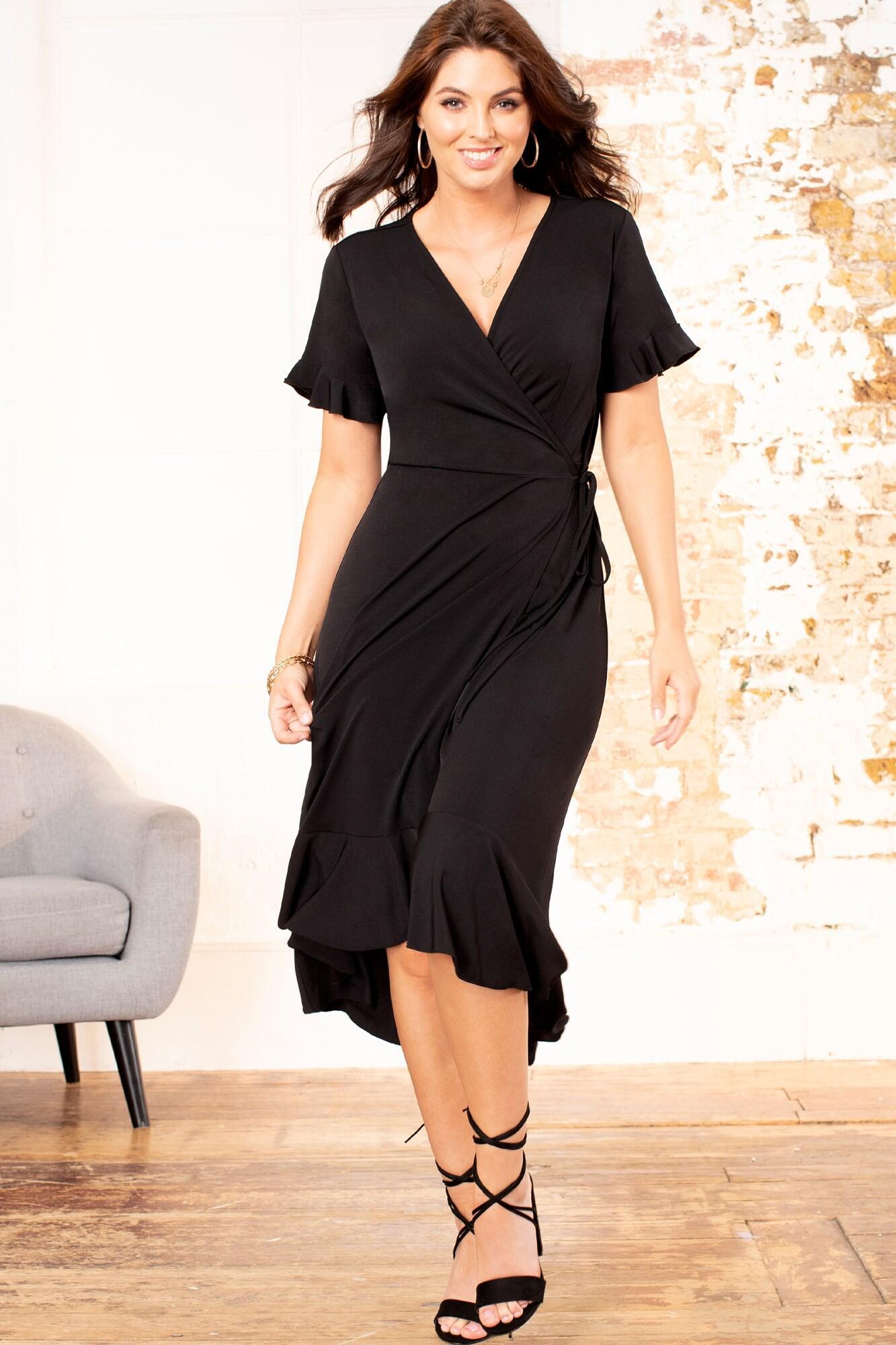 Slinky Jersey Frill Detail Midi Wrap Dress - Black