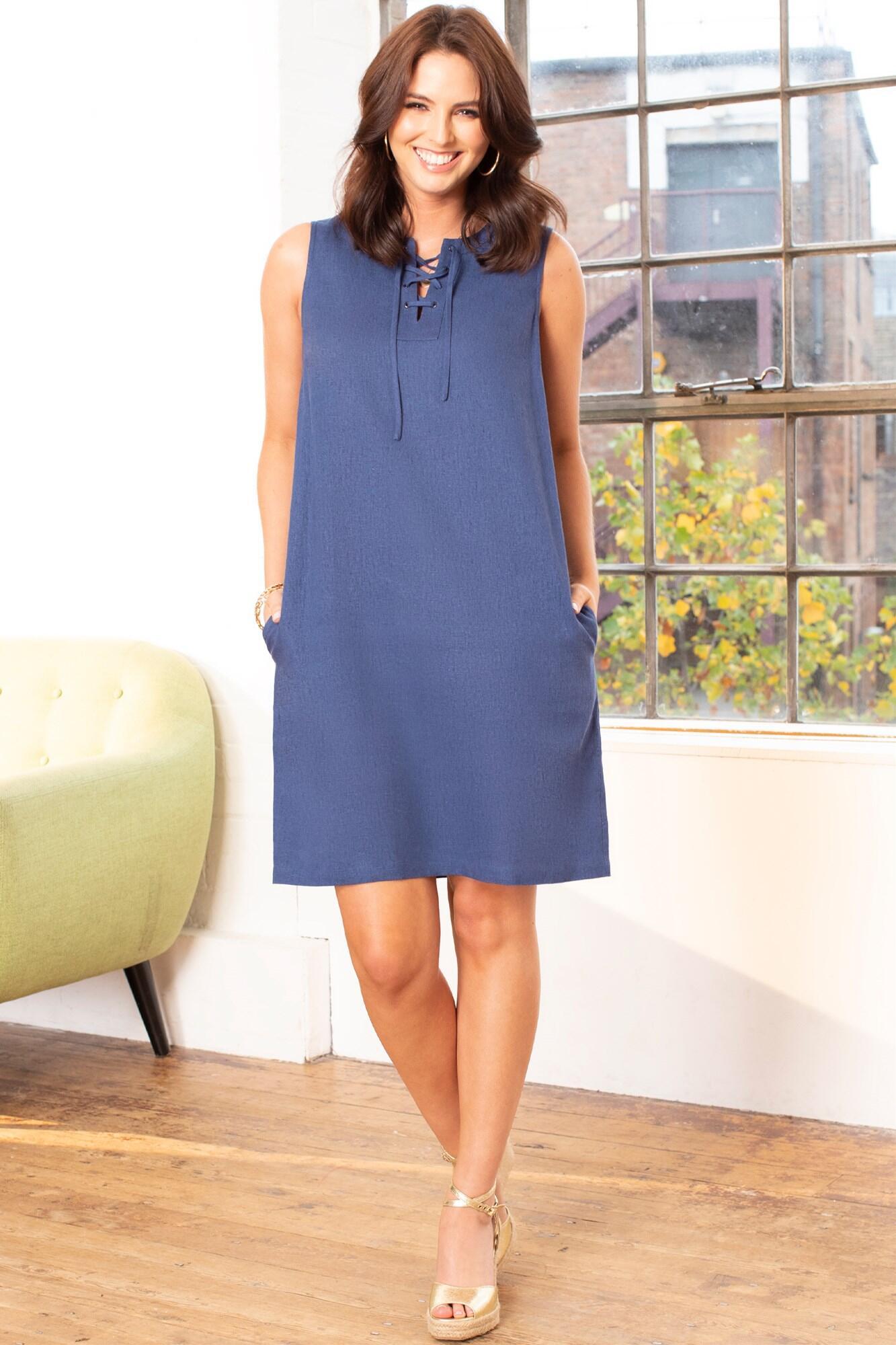 Linen Blend Shift Dress - Navy