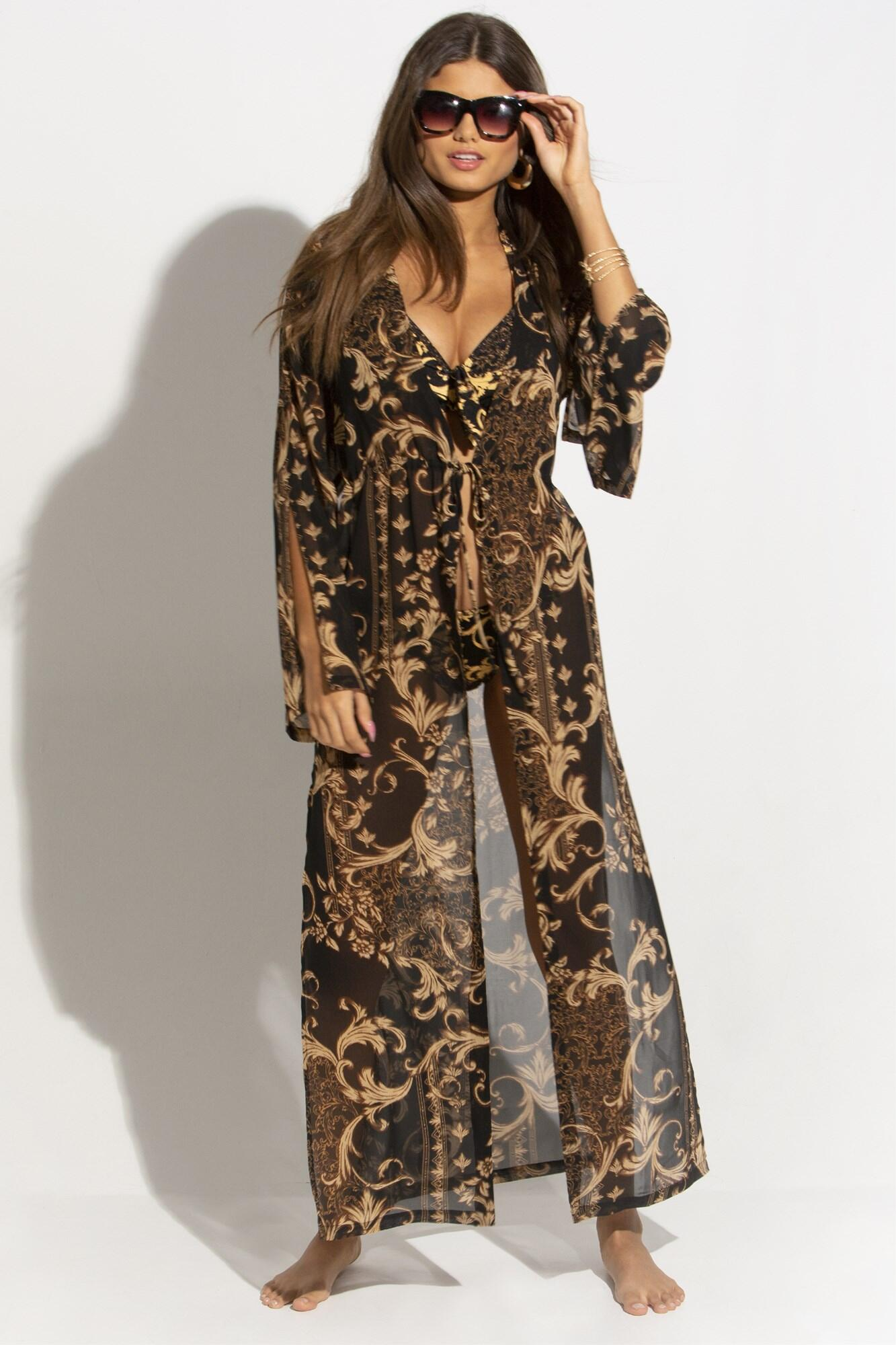 Paradiso Chiffon Maxi Kimono - Black/Gold
