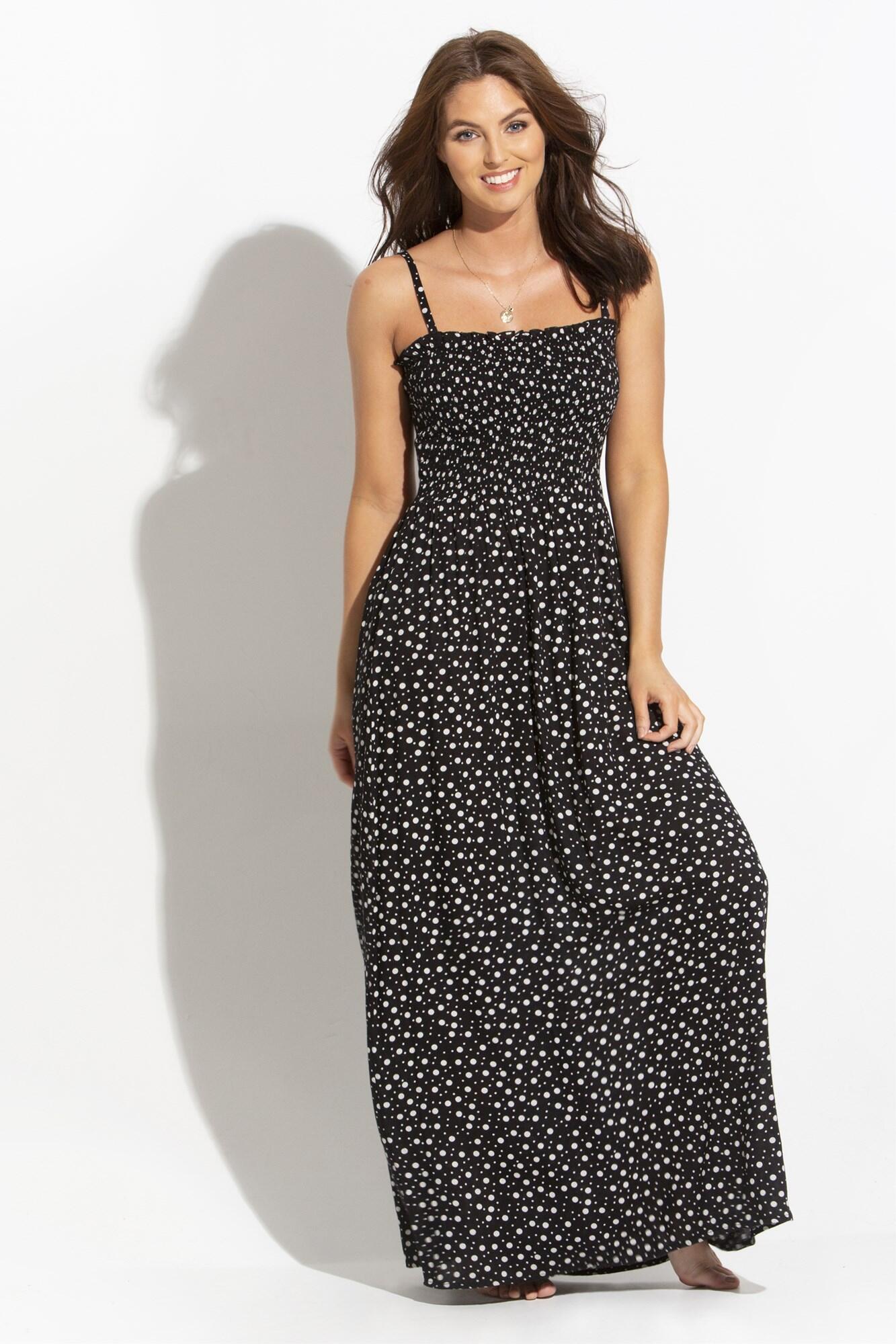 Removable Straps Shirred Bodice Maxi Dress - Black/White