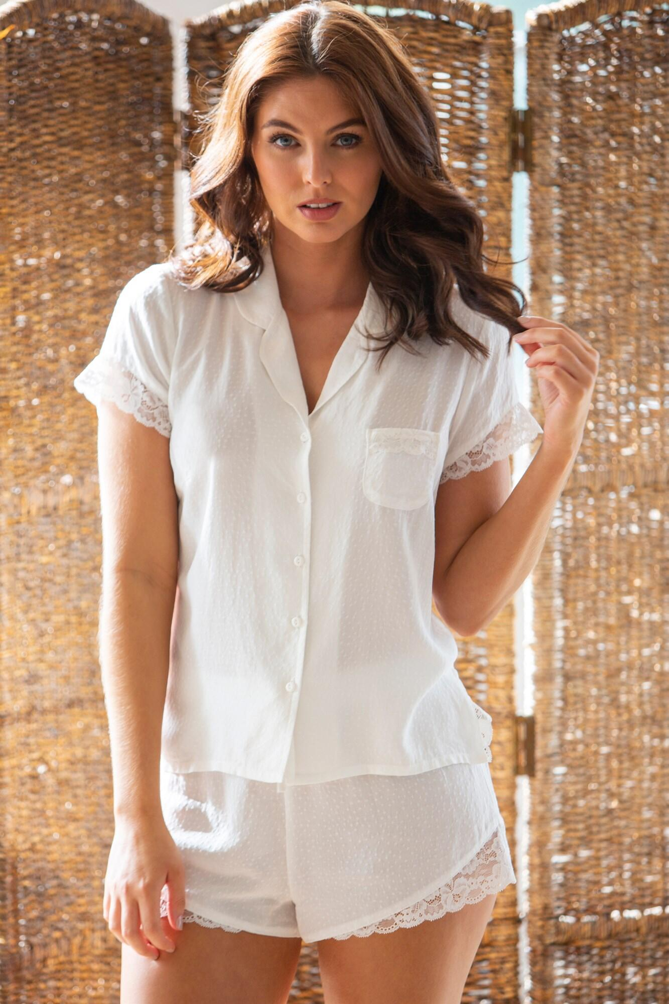 Spot Woven Lace Mix Revere Collar Shirt - White