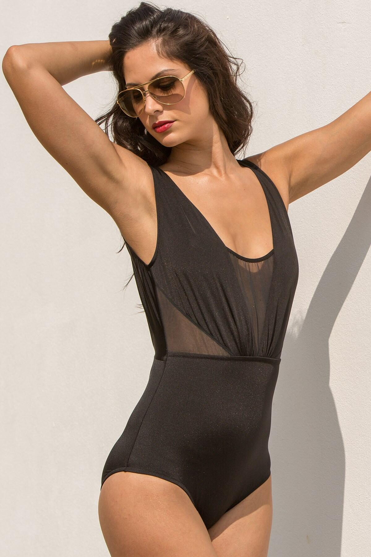 Siren Mesh Insert Swimsuit - Black