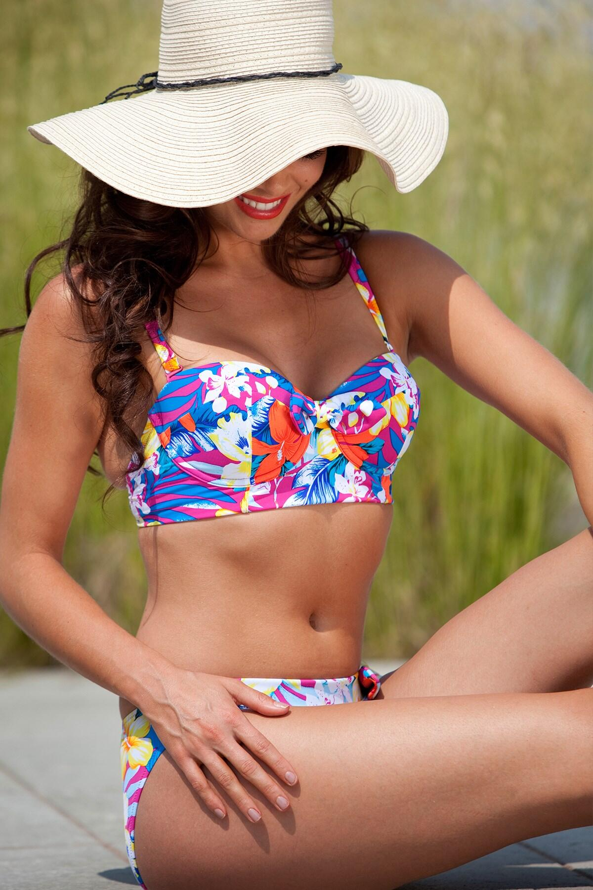 Ibiza Long Line Underwired Top - Hot Pink Multi
