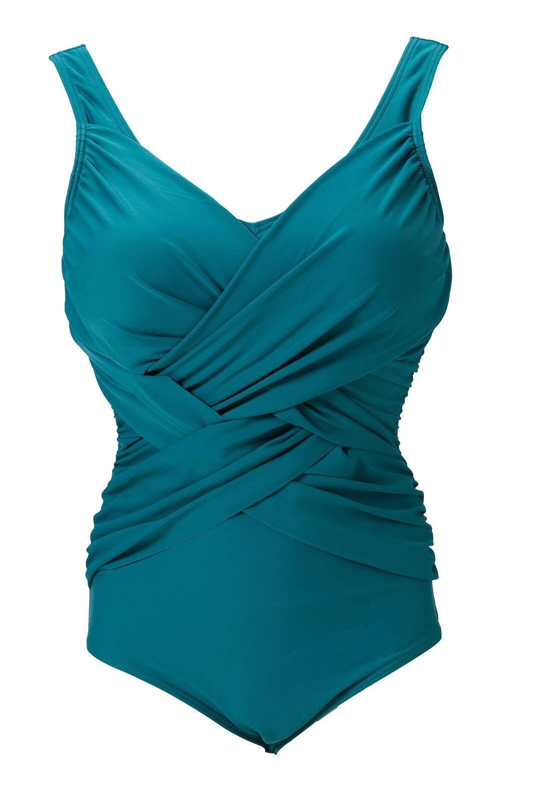Draped V Neck Swimsuit - Jade Green