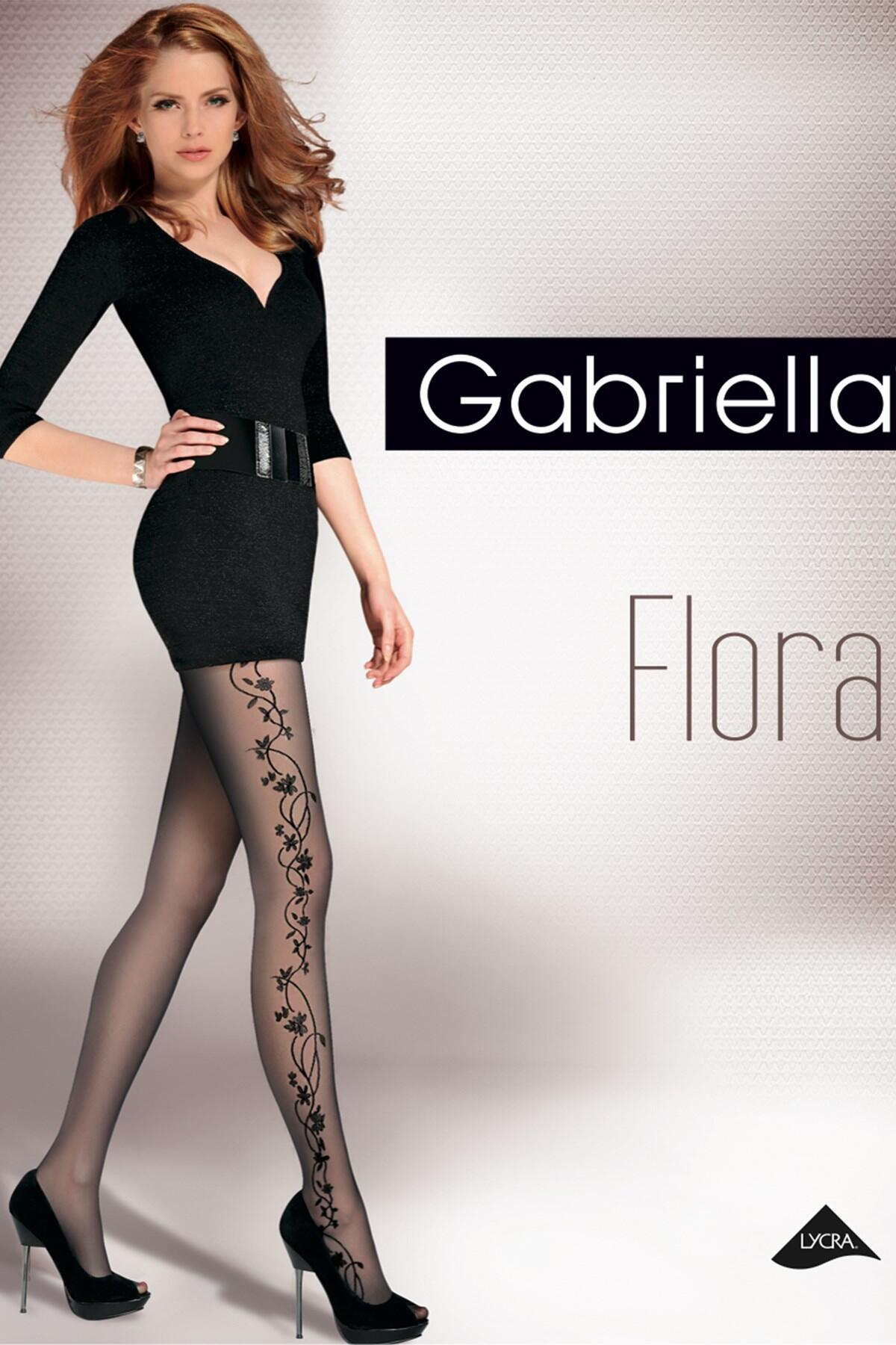 Gabriella Flora Fashion 20 Den Lycra - Black