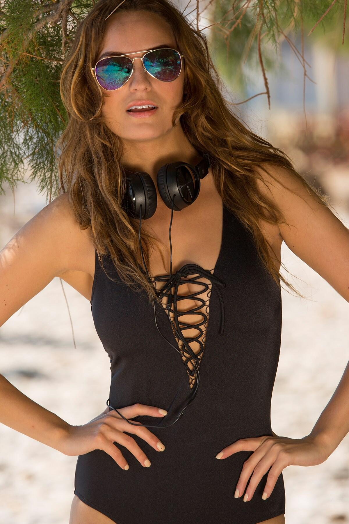 LBS Plunge Loop Swimsuit  - Black