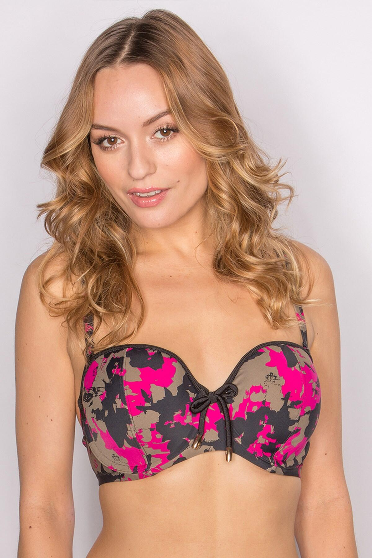 Glamo Camo Strapless Padded Underwired Top - Black/Pink