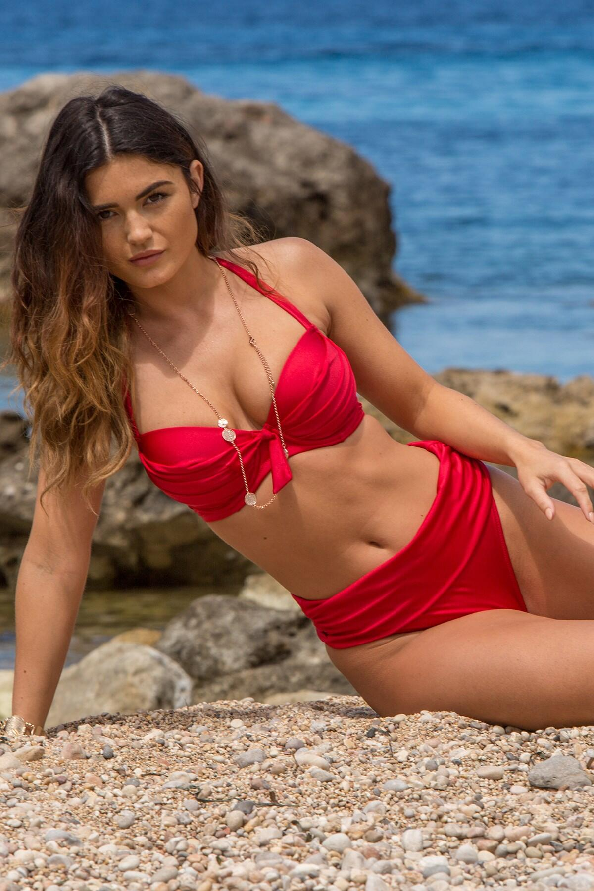 Azure Fold Over Ruched Brief - Red