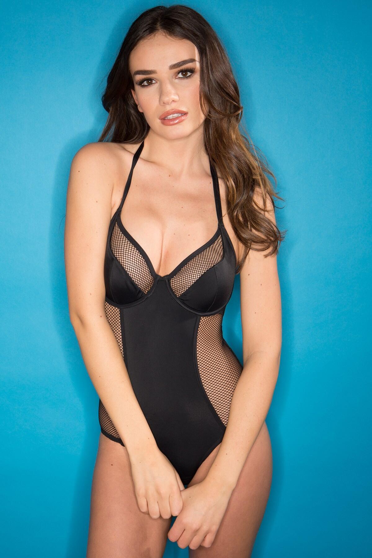 Mixed Mesh Underwired Halter Swimsuit  - Black