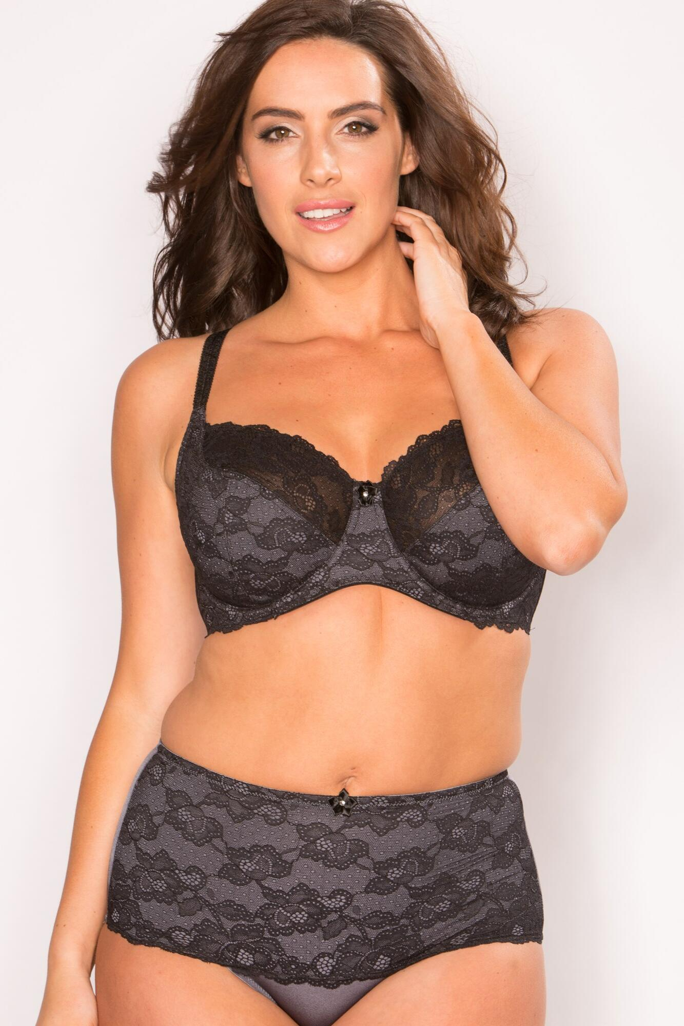St Tropez Lace Brief - Black Smoke