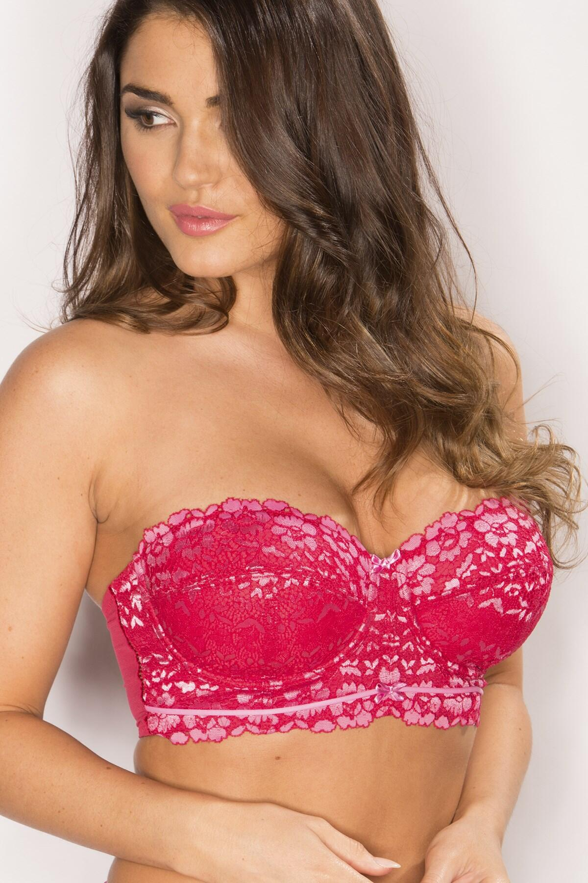 Fever Longline Strapless Bra - Cherry