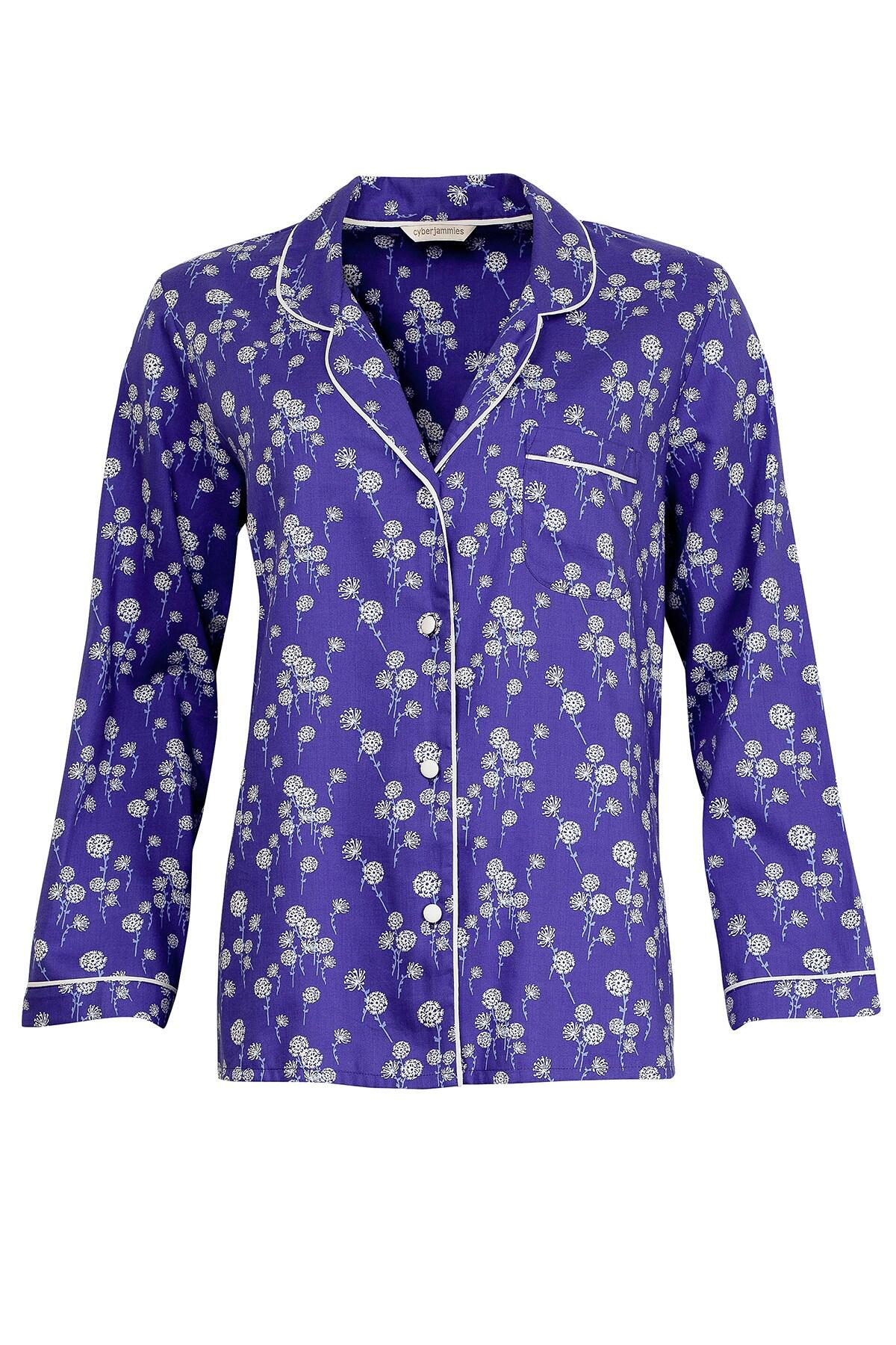 Dandelion Shower Woven Long Sleeve Pyjama Top - Blue