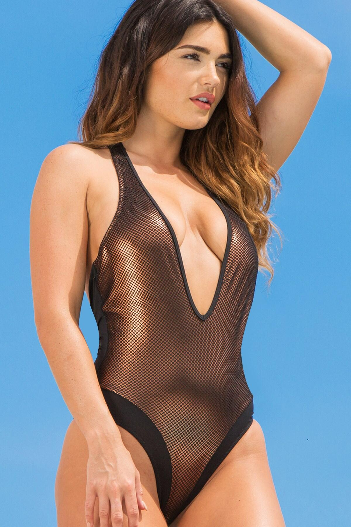 Vegas Baby Overlaid Mesh Swimsuit - Gold