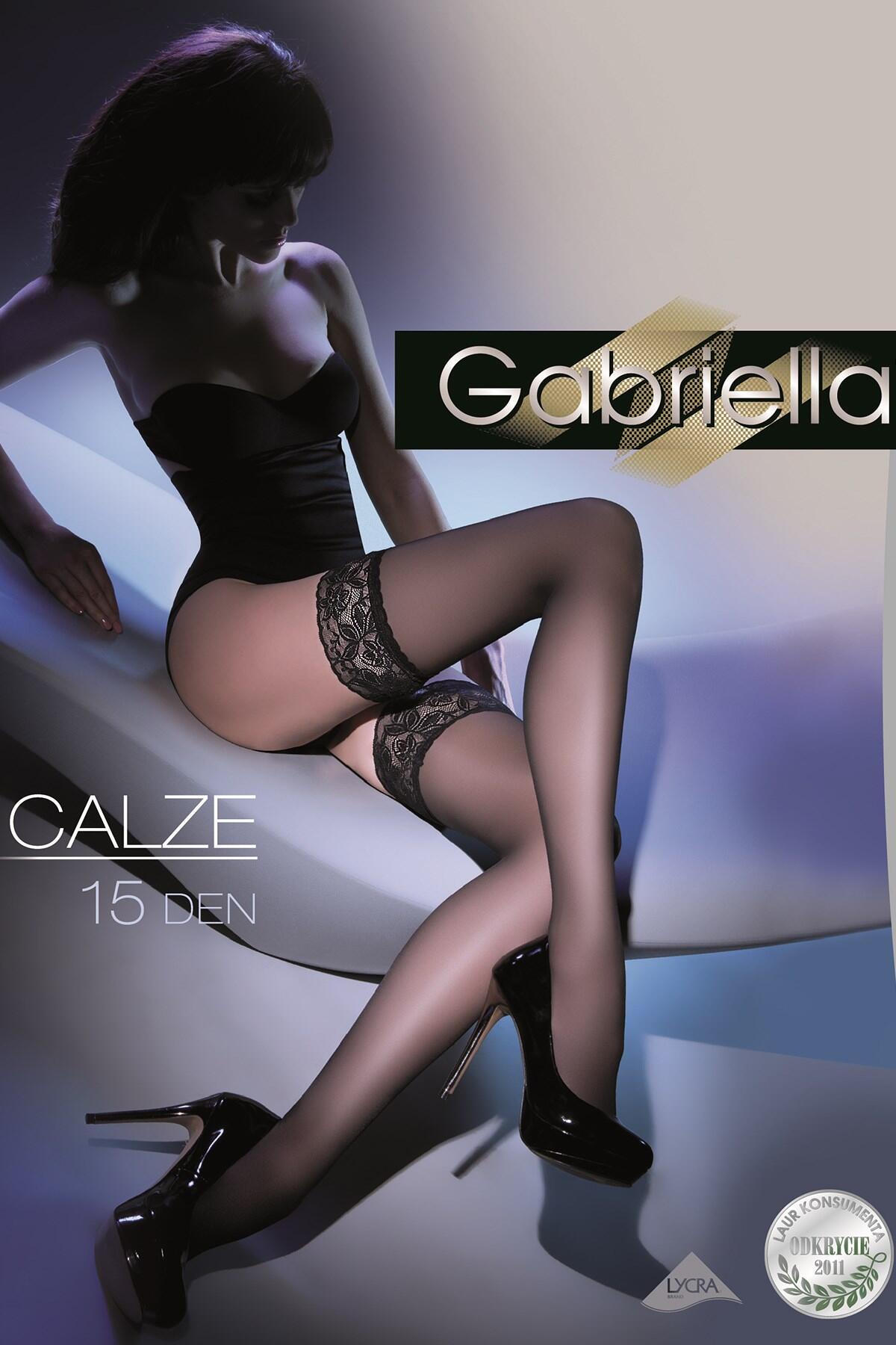 Gabriella 15 Denier Belt Stockings - Black