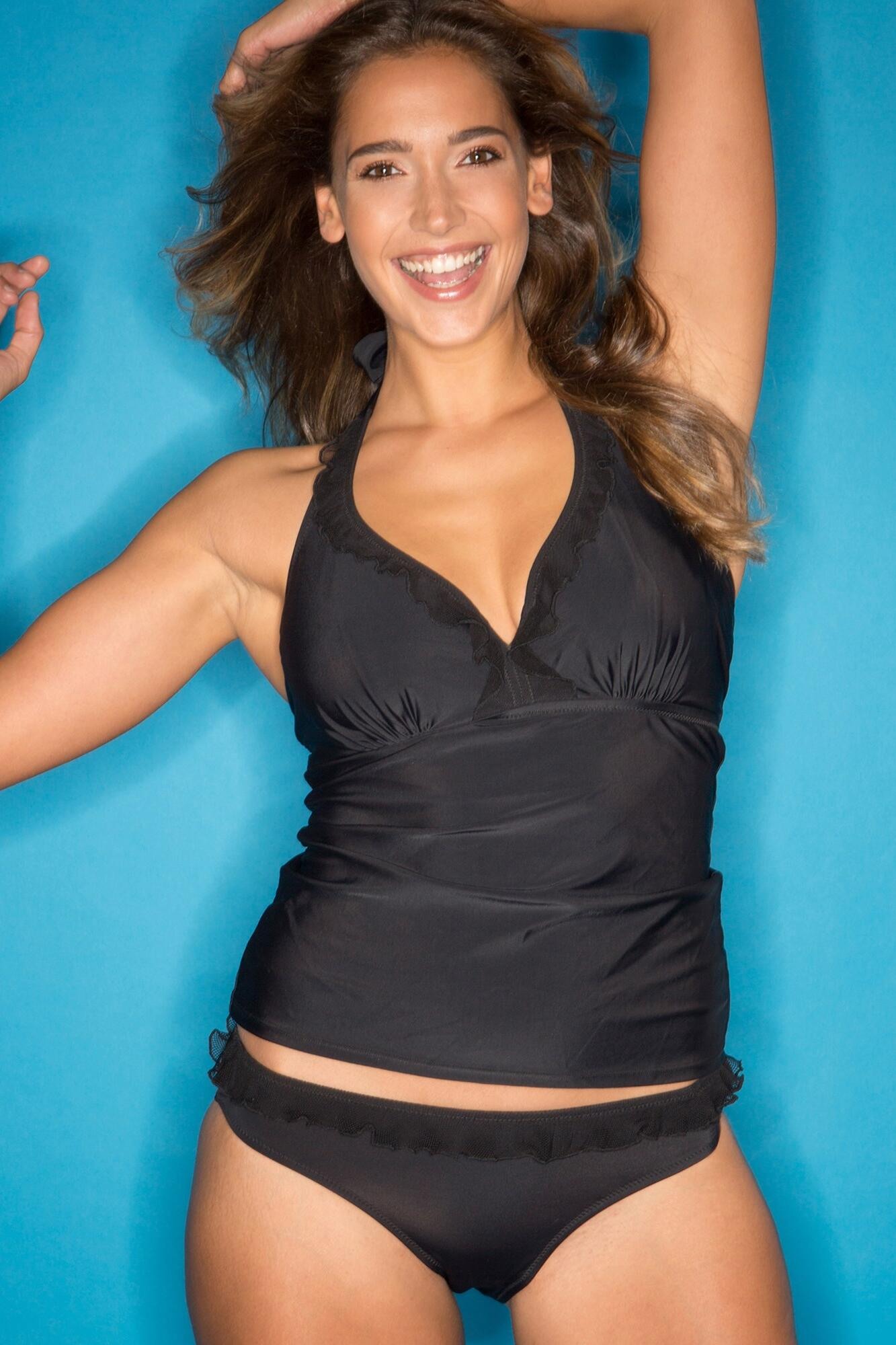 Mesh it Up Underwired Tankini Top - Black