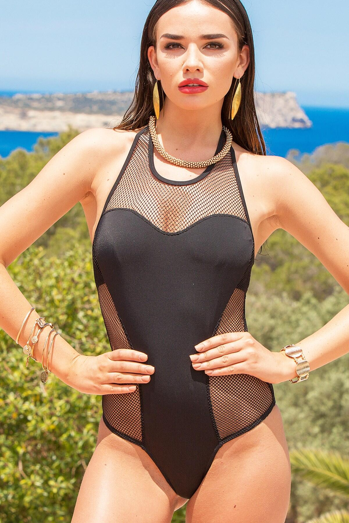 Glamazon Mesh Swimsuit  - Black