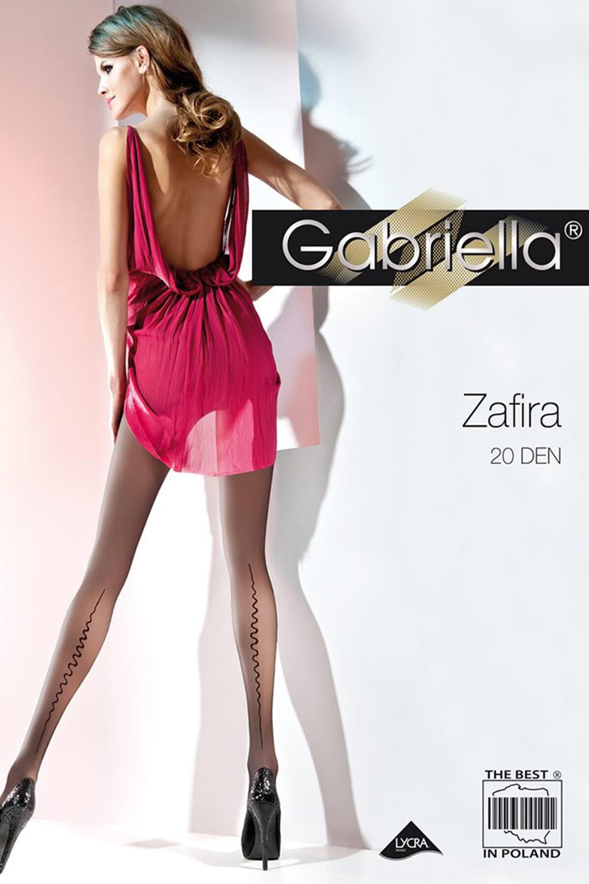 Gabriella Zafira 20 Denier Patterned Tights  - Black