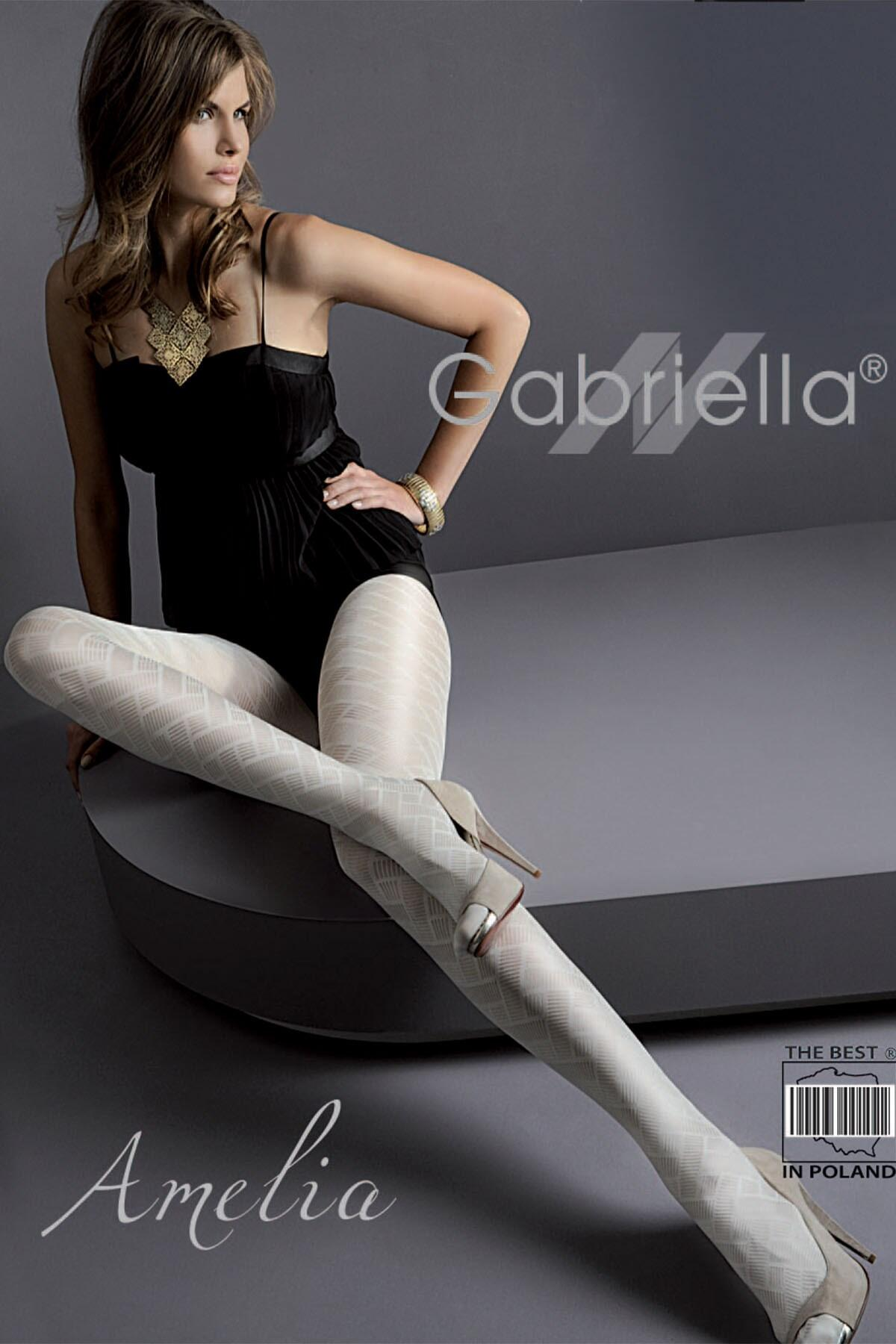 Gabriella Amelia Patterned 50 Denier Tights  - Black