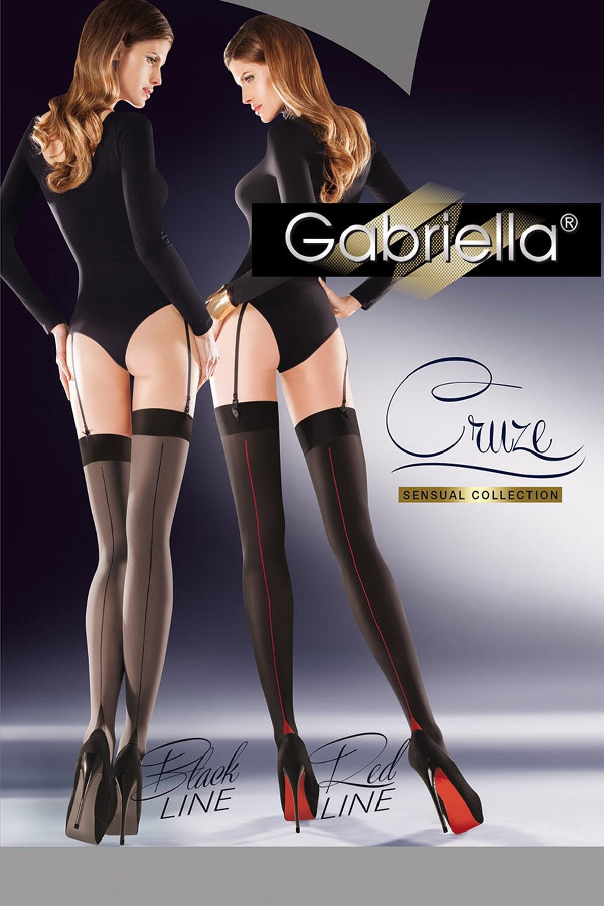 Gabriella-Cruze-Belt Stockings - Black/Red