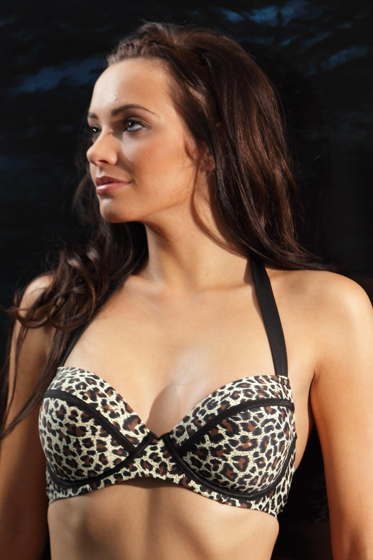 Africa Animal Underwired Padded Bikini Top - Animal