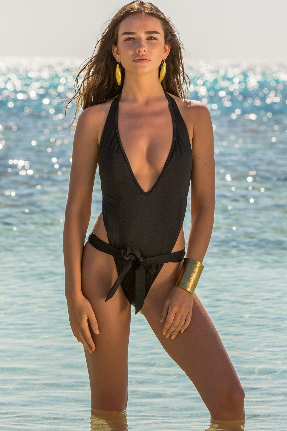 LBS Tie Halter Cut Out Swimsuit  - Black