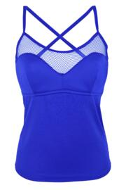 Glamazon Cami Convertible Underwired Half Padded Tankini Top - Blue
