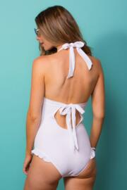 Splash Dual Cup Halter Swimsuit - White