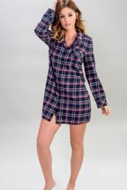 Moonstruck Check Nightshirt - Navy/Red Check