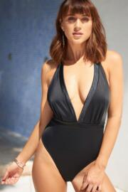 Jet Set Halter Plunge Swimsuit  - Black