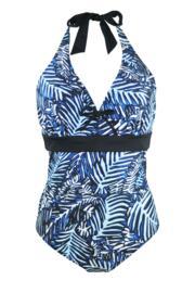 Barracuda Underwired Halter Swimsuit - Black/Blue