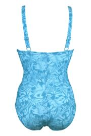 Ruched V Neck Control Swimsuit - Blue Flowers
