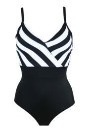 High Line V Neck Control Swimsuits  - Black/White