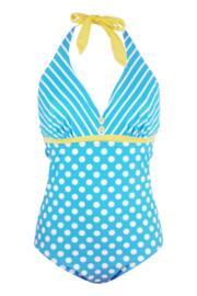 Starboard Underwired Halter Swimsuit - Turq/Lemon