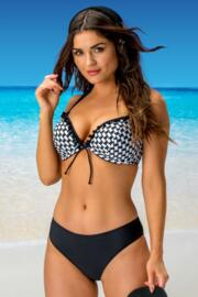 Long Beach Padded Halter Underwired Top - Black/White
