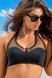 Glamazon Halter Mesh Half Padded Underwired Top - Black