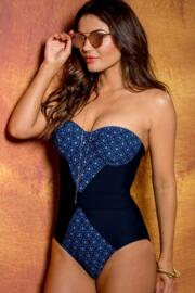 Daydreamer Underwired Halter Padded Swimsuit - Blue Multi