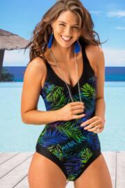 Fern Contour Control Swimsuit  - Black/Blue