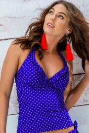 Hot Spots Underwired Tankini Top - Ultramarine