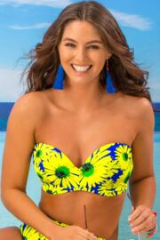Crazy Daisy Strapless Padded Underwired Top - Blue/Yellow