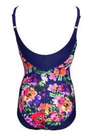 Flowers Control Swimsuit  - Navy