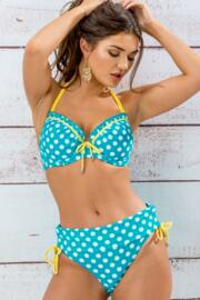 Starboard Padded Halter Underwired Spotty Top - Turq/Lemon