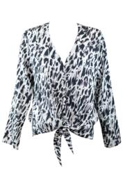 Idlewild Tie Front Long Sleeve Top - White/Black