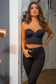 Strapped Strapless Padded Bustier - Black