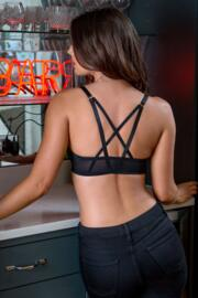 Strapped Front Fastening T-Shirt Bra - Black