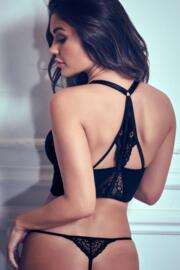 Amour Accent Thong - Black/Pink